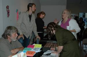 Clockwise from left: Dan Nielsen, Nick Demske, Kate Shanahan, Clina Barrette, me. I'm signing my chapbook!