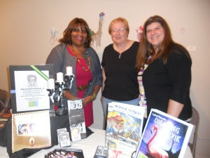 poet Marcie Eanes with Peg Rousar-Thompson and Lisa Kless from Left of the Lake Magazine